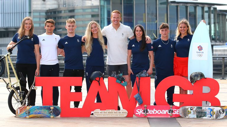 Diver Jack Laugher and climber Shauna Coxsey (third and fourth from left) were among the first of the GB athletes to secure their spot at Tokyo