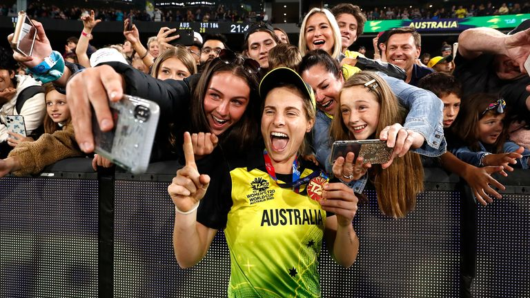 Australia's Sophie Molineux celebrates with fans at the MCG earlier this month