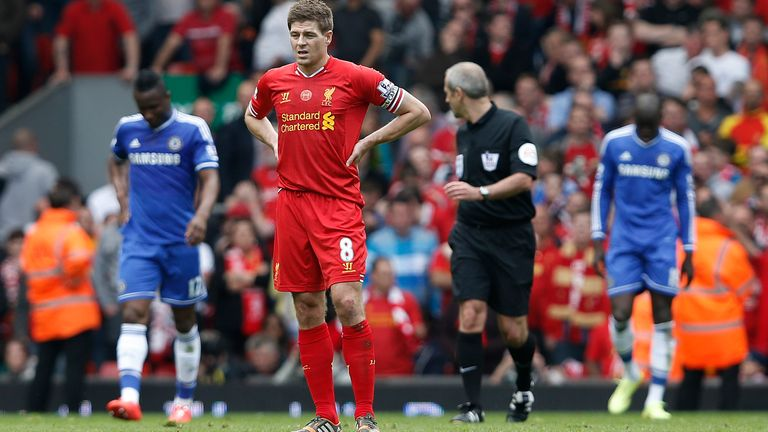 Gerrard reacts after that slip against Chelsea