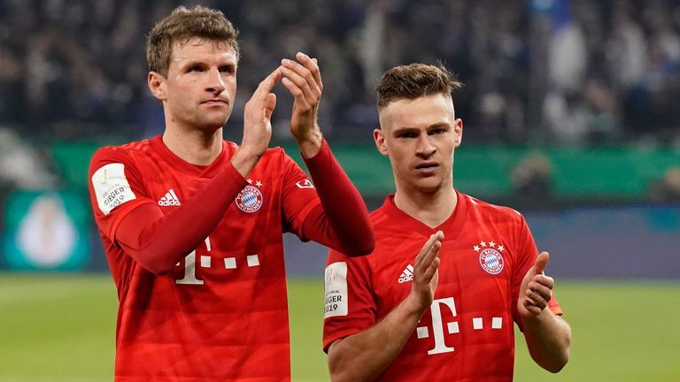 Thomas Muller and Josh Kimmich in action for Bayern Munich before German football was suspended due to coronavirus