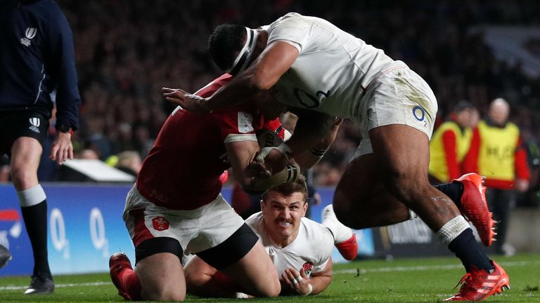 Tuilagi connected with the head of George North, but only after the Welshman had fallen to his knees