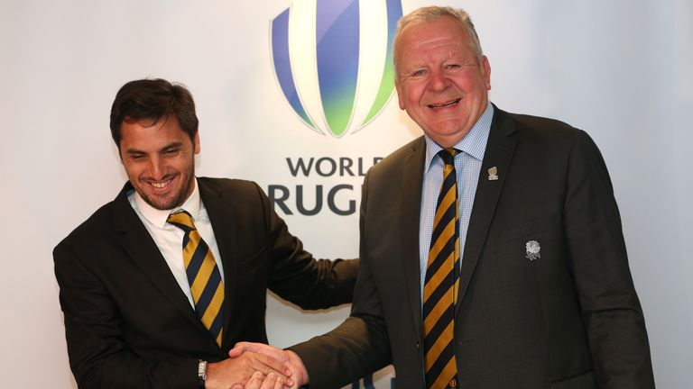 Beaumont, right, faces opposition from Agustin Pichot, left, in his bid to be re-elected as World Rugby chairman