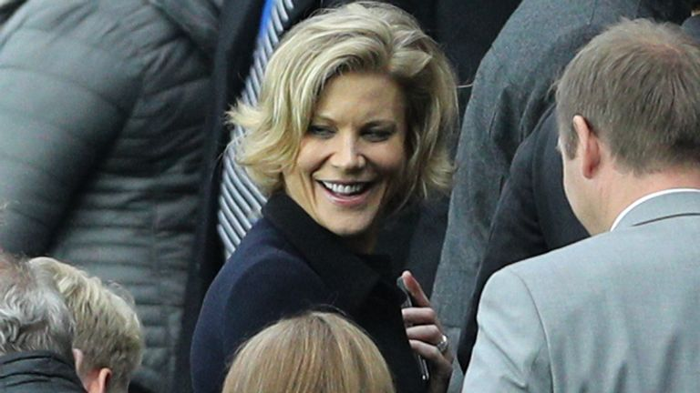 Amanda Staveley in the stands during a Premier League match at St James' Park