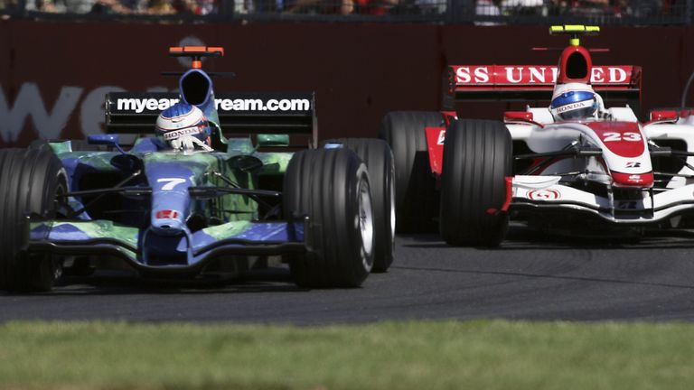 Button battles with Davidson at 2007's season-opener - but not at the end of the field he'd been hoping