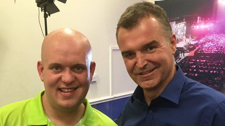 Sky Sports Dave Clark with Michael Van Gerwen