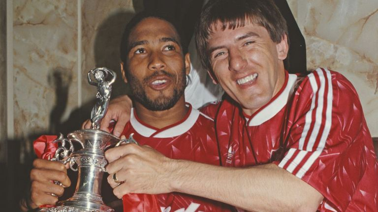 Barnes and Beardsley (right) celebrate Liverpool's 1989-90 title win