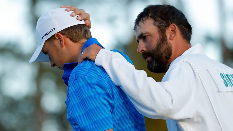 Jordan Spieth is consoled by Michael Greller after his dramatic collapse in 2016