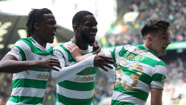 Kieran Tierney, right, and Edouard celebrate a goal against Rangers in 2018