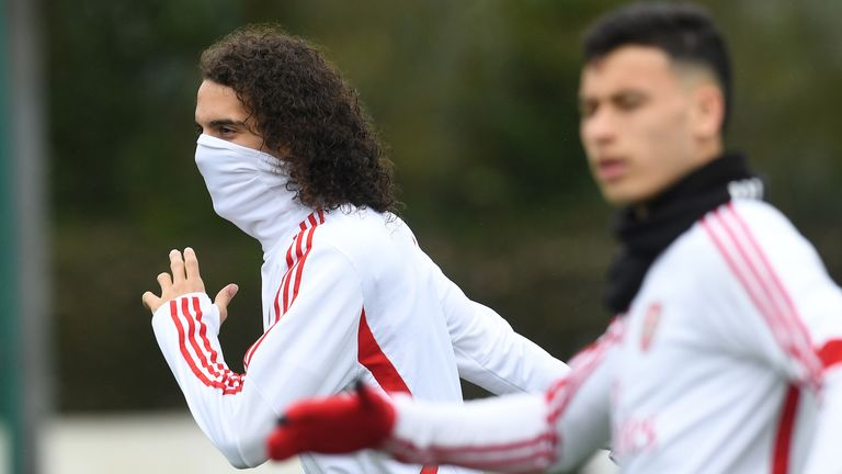Matteo Guendouzi pictured training with Arsenal before the shutdown