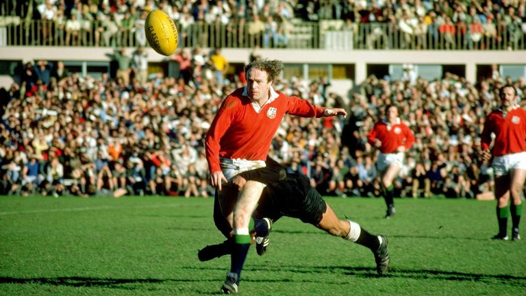 Mike Gibson in action during the 1977 Lions  tour to New Zealand