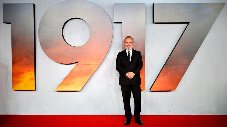 Sam promoting his acclaimed First World War film, called 1917
