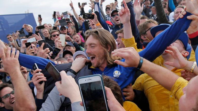 Tommy Fleetwood won four points on his European debut in the 2018 contest