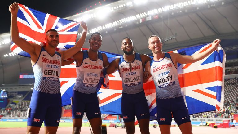 Adam Gemili, Zharnel Hughes, Richard Kilty and Nethaneel Mitchell-Blake of Great Britain celebrate silver in Doha