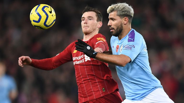 Andy Robertson and Sergio Aguero in action at Anfield