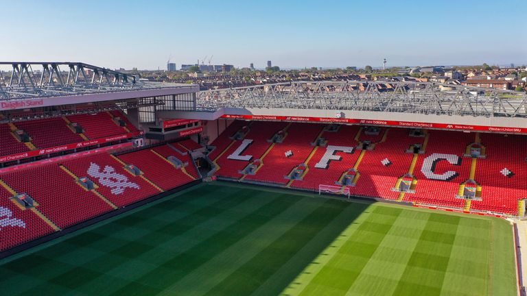There will be no fans at Anfield as Liverpool seek to seal the league title