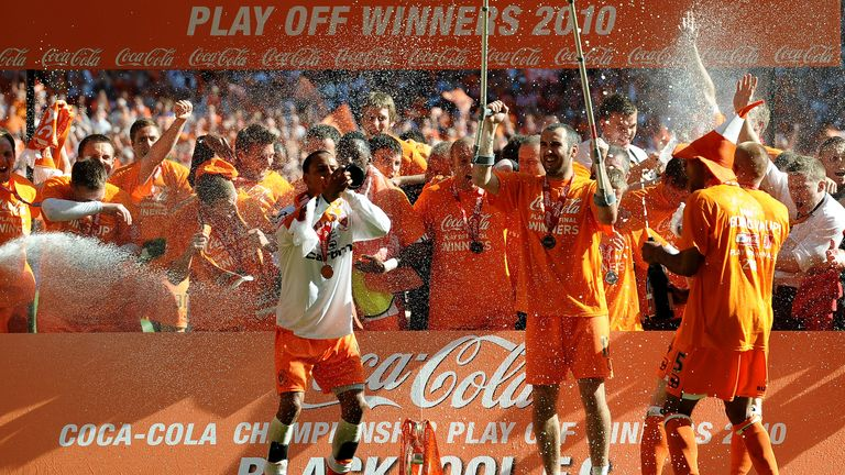 Gary Taylor-Fletcher needed crutches come the time of Blackpool's celebrations