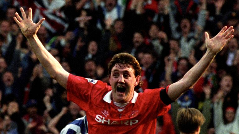 Steve Bruce wheels away after his late winner for Manchester United against Sheffield Wednesday in 1993