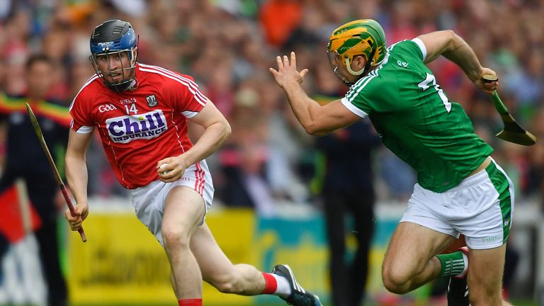 Conor Lehane of Cork evades Dan Morrissey of Limerick