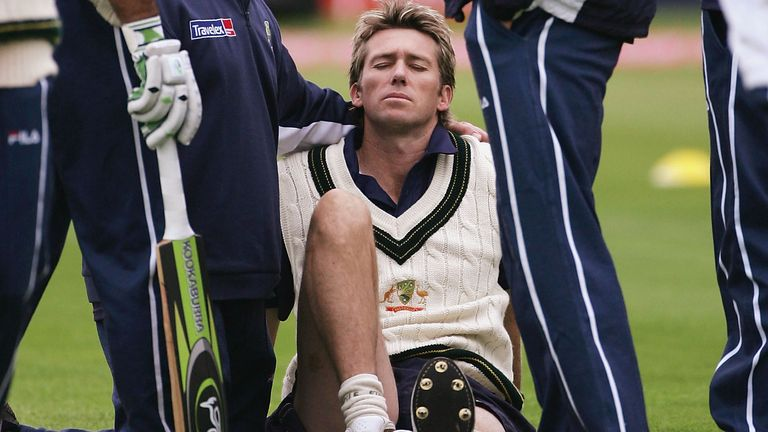 Glenn McGrath rolled his ankle in the warm-up and missed the Edgbaston Test