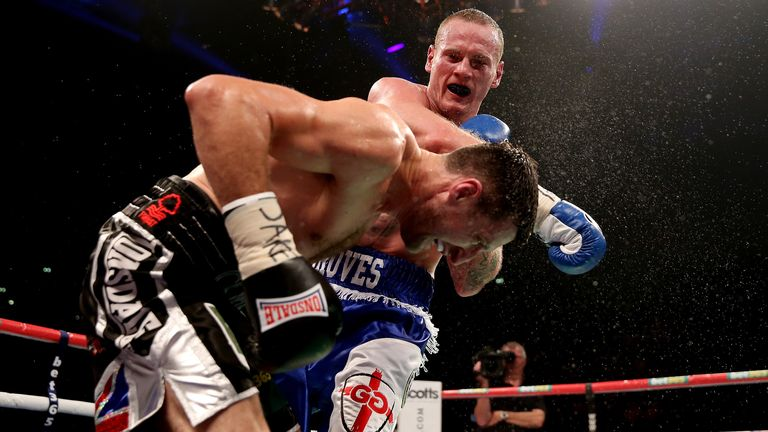 Groves threw a barrage of punches at the champion