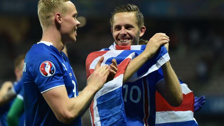 Sigurdsson celebrates Iceland's famous win over England at Euro 2016