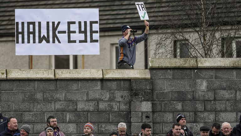 A fan erected a unofficial hawk-eye for the 2019 Walsh Cup final between Wexford and Galway