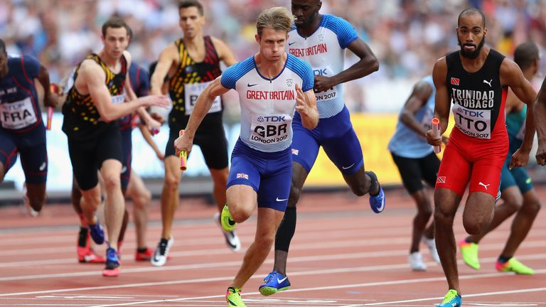 Green runs in the 4x400m relay heats at the 2017 World Athletics Championships