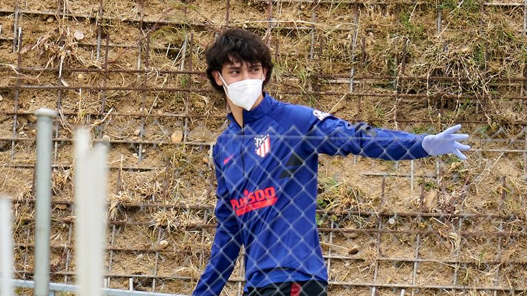 Joao Felix returned to socially distanced 'small group' training with Atletico Madrid on Monday