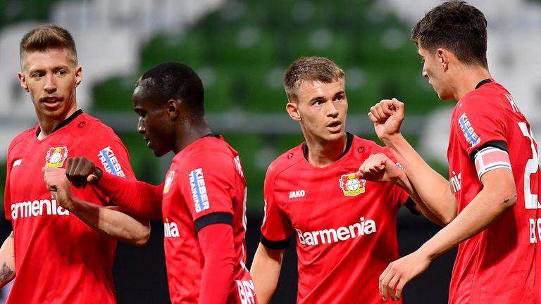 Kai Havertz celebrates scoring Bayer Leverkusen's first goal against Werder Bremen