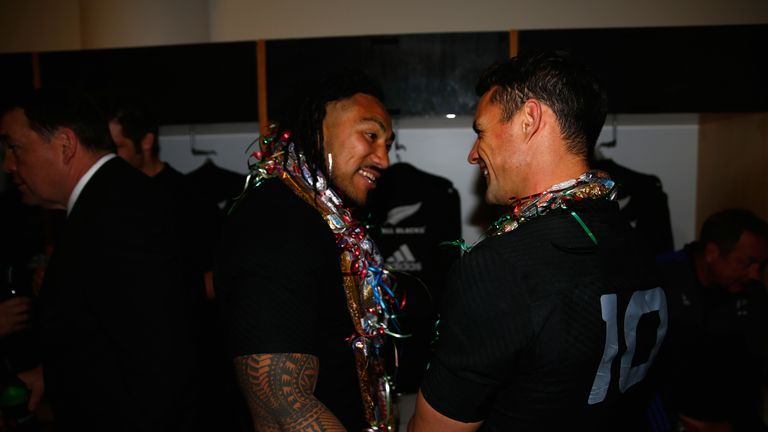 Ma'a Nonu  (L) and Carter liked to compare text messages after games
