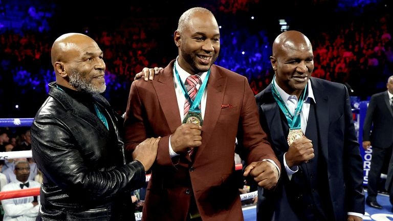 Tyson, Lennox Lewis and Holyfield before the rematch of Tyson Fury vs Deontay Wilder