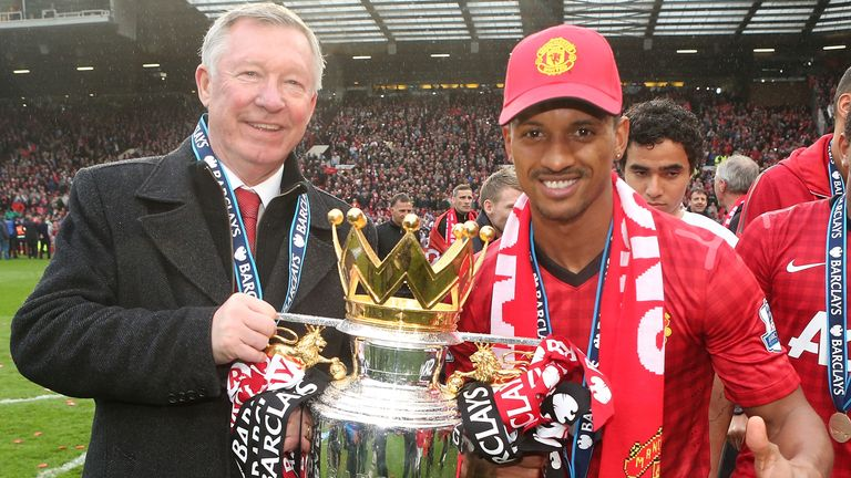 Nani and Sir Alex lifting the Premier League trophy in 2013