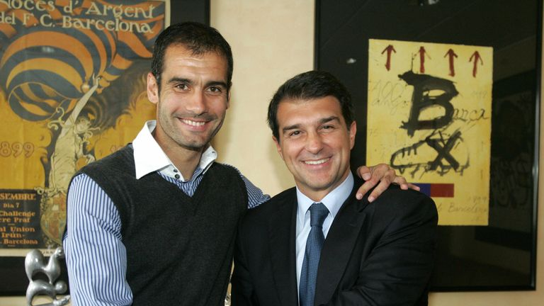 Guardiola shakes hands with Laporta after being promoted from youth team coach to manage the first-team in 2008