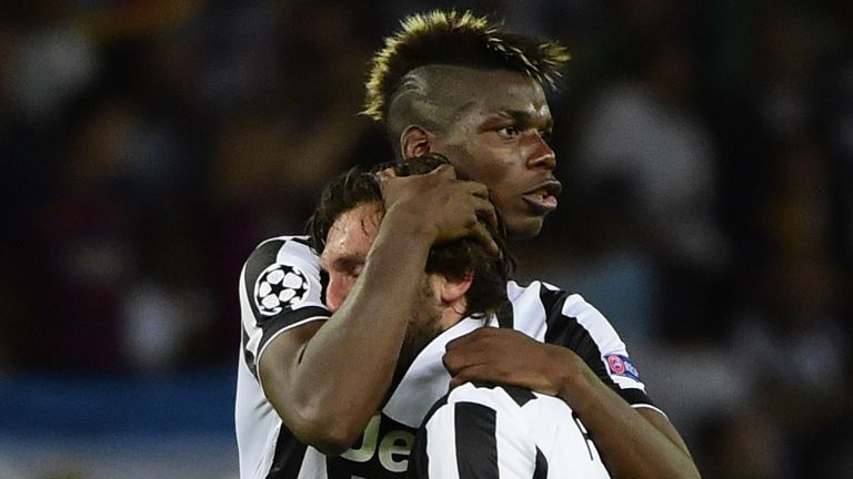 Paul Pogba consoles Andrea Pirlo following Juventus' 2015 Champions League final defeat to Barcelona