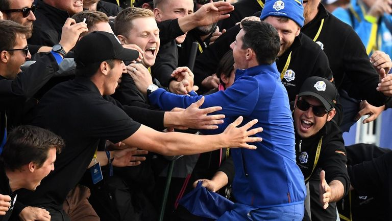 Rory McIlroy celebrated with European fans after their victory in 2018