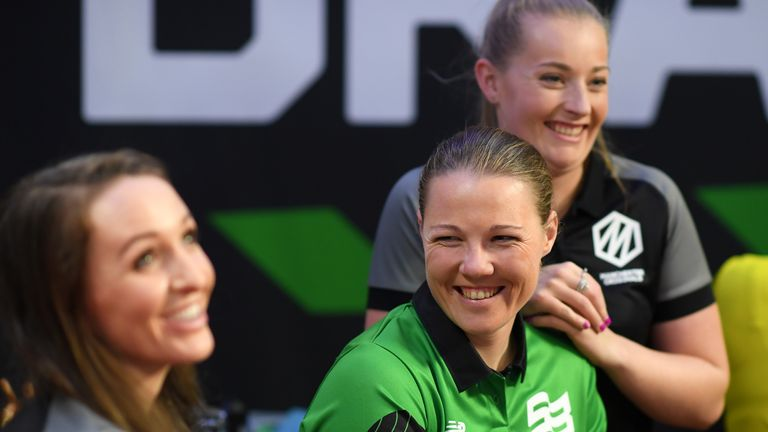 Kate Cross, Anya Shrubsole and Sophie Ecclestone pictured at the inaugural draft for The Hundred in 2019