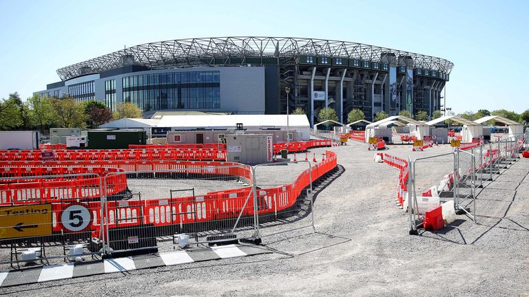 The North car park of Twickenham Stadium, home to England Rugby has been transformed into a drive-thru COVID-19 testing centre