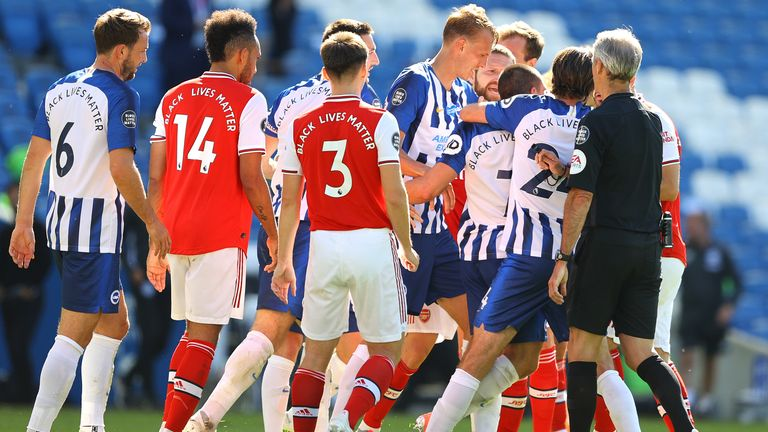 Tempers flared at the end of the match between Brighton and Arsenal players