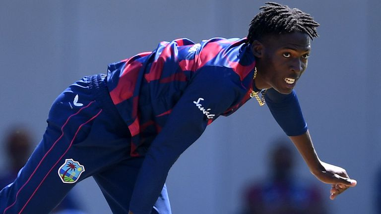 Chemar Holder in action in West Indies warm-up game