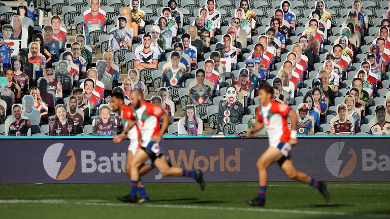 A cardboard cutout crowd in the stands during the round three NRL match between the New Zealand Warriors and the St George Illawarra Dragons