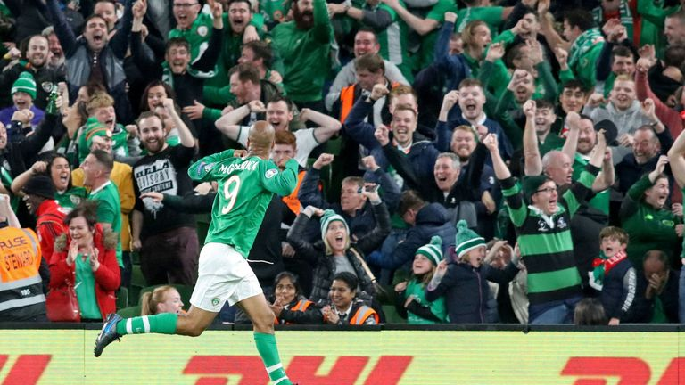 McGoldrick celebrates his late equaliser against Switzerland in September