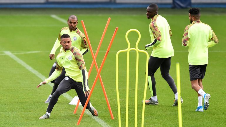 Jesus in training with his Manchester City team-mates earlier this season