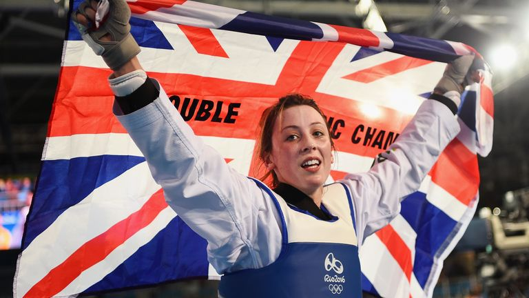 Jones after defeating Eva Calvo Gomez of Spain during the Women's -57kg Gold Medal Taekwondo in Rio