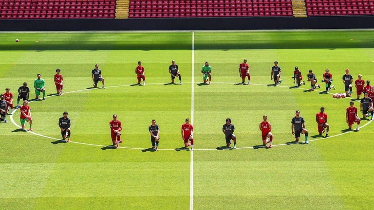 Liverpool players took a knee during training as a show of solidarity for the Black Lives Matter movement