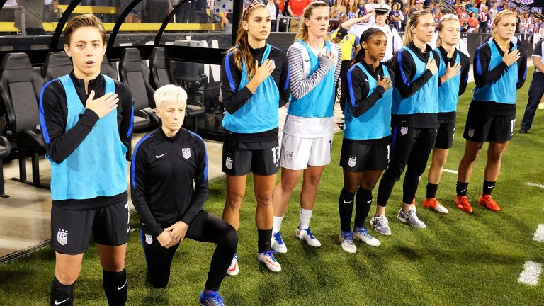 Megan Rapinoe took a knee before the USA's match against Thailand in 2016