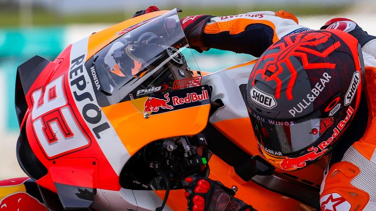 Marc Marquez in action in testing ahead of the new season