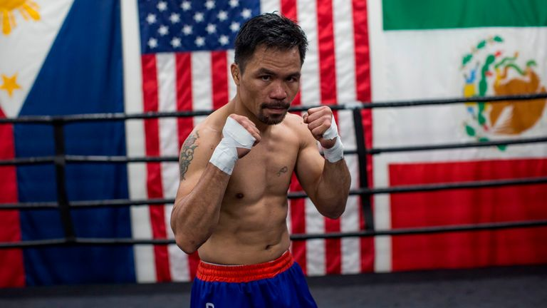 Manny Pacquiao at the Wild Card gym