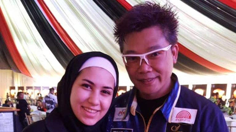 Rahmani met many of Asia's biggest darting stars in her appearance on the PDC Asian Tour last year