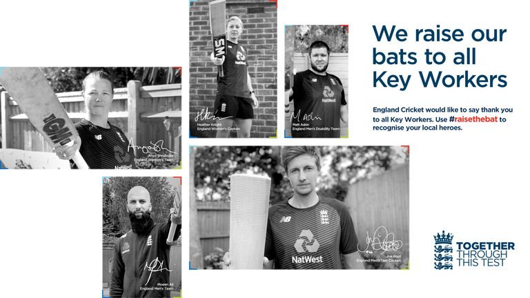 England's Test series against West Indies has been named #raisethebat to honour key workers who have helped during the coronavirus pandemic