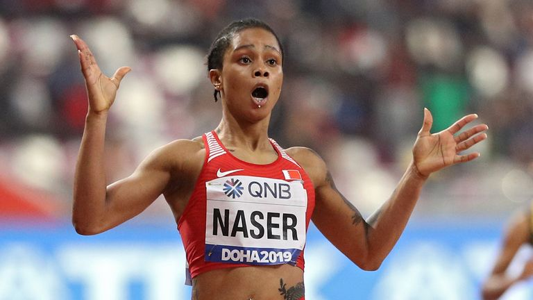 Salwa Eid Naser of Bahrain wins the Women's 400m at the 2019 World Athletics Championships in Doha